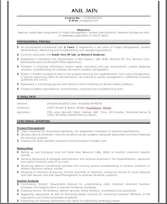 It Network Support Resume  Desktop Support Resume Sample