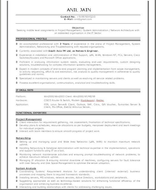 Sample Network Engineer Resume - sample network engineer resume