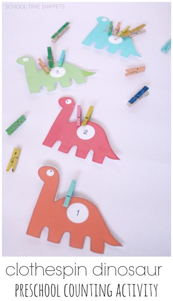 clothespin dinosaur counting math printable school time snippets. Black Bedroom Furniture Sets. Home Design Ideas