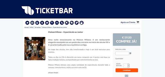 Ticketbar para ingressos para um jantar no restaurante Maison Milano