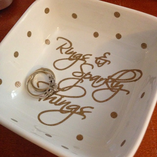 Silhouette projects, scraps, using scraps, polka dots, ring dish
