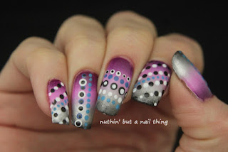 Gradient and polka dots nail art design ideas