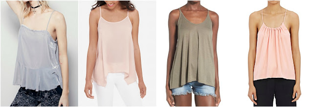 One of these swing camis is from Helmut Lang for $320 and the other three are under $40. Can you guess which one is the designer cami? Click the links below to see if you are correct!