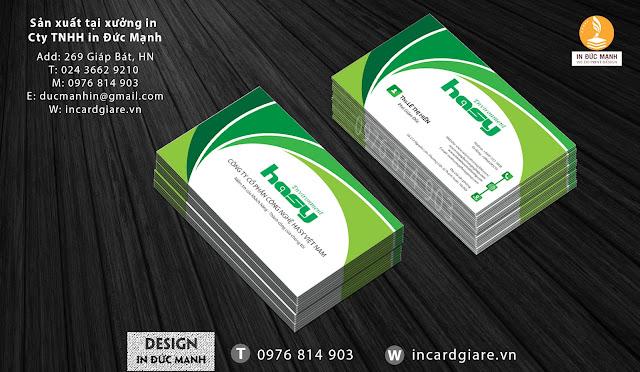 Mẫu card visit doanh nghiệp công ty cổ phần Hasy Việt Nam
