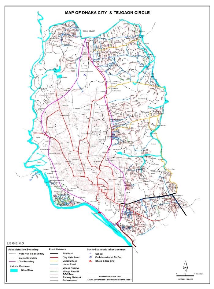 Dhaka City Road Map Bangladesh