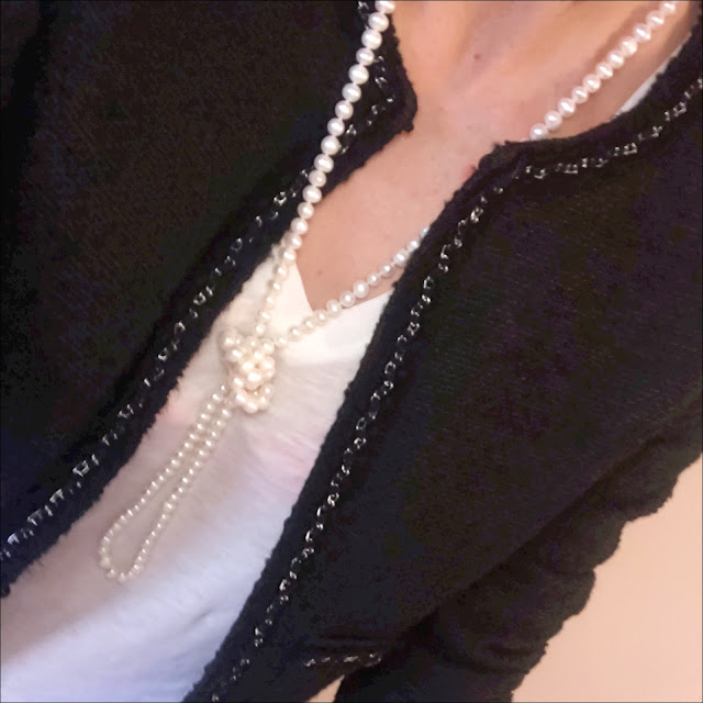 My Midlife Fashion, L K Bennett Charl black jacket, french sole arabella black glitter ballet pumps, zara faux leather trousers, j crew vintage v neck t shirt, single long length pearl necklace, laura ashley blue plait detail tassel suede cross body bag