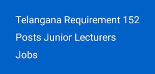 Telangana Gurukulam Junior Lecturers 152 Posts Notification