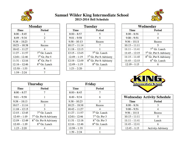 King Connections 2016-17: Revised Bell Schedule