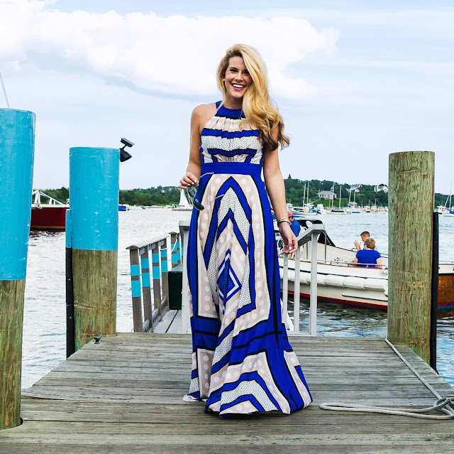 scar print crepe de chine fit and flare maxi dress on Marthas vineyard