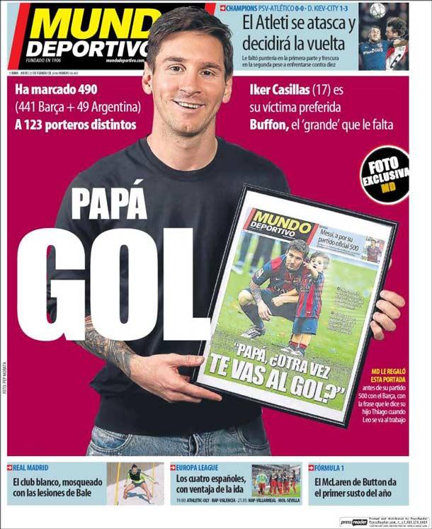 Portada del periódico Mundo Deportivo, jueves 25 de febrero de 2016