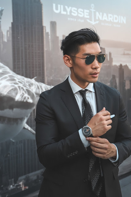Leo Chan wearing Todd Snyder Business Professional Black Suit, Ulysse Nardin Freak Out Watch | Asian Male Model