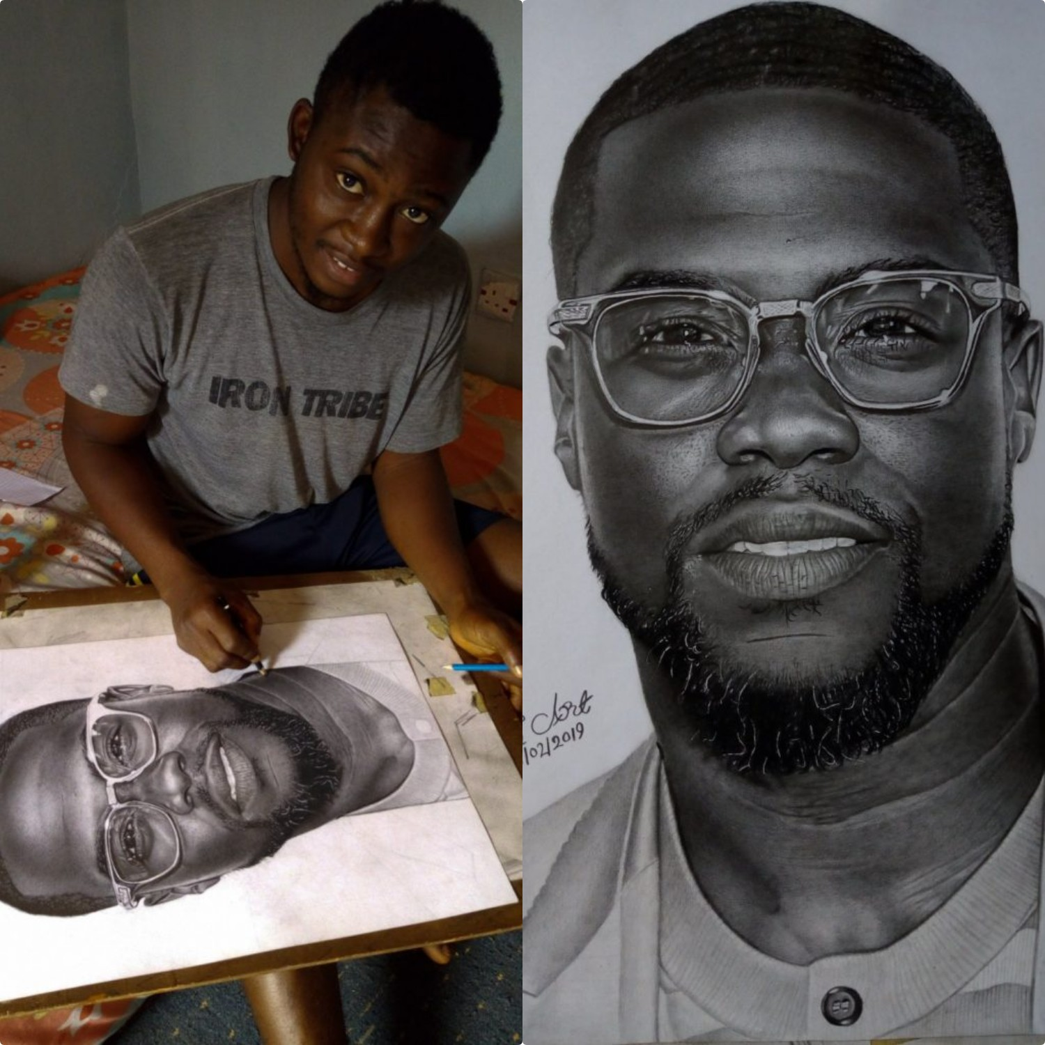 American comedian kevin hart supports nigerian hyperrealism pencil artiste who reached out to him