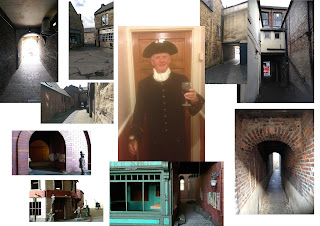 a moodboard of images - mostly alley ways and grotty street scenes