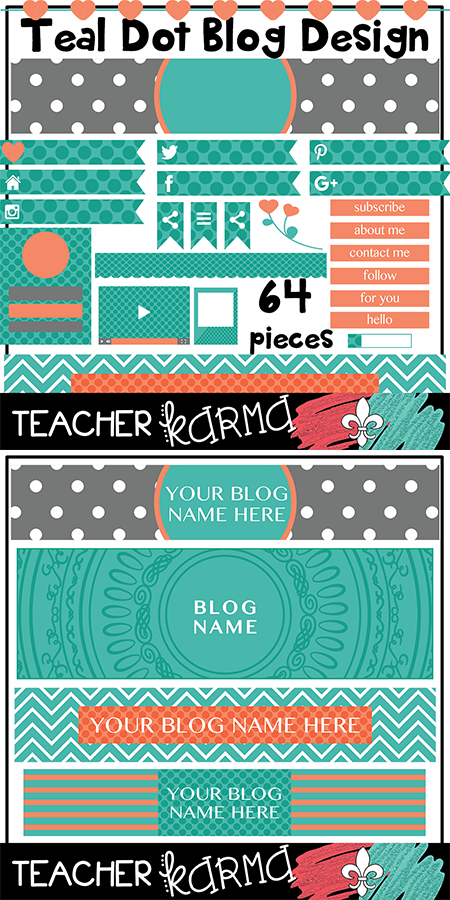 FREE Teal Polka Dots Blog Design TeacherKARMA.com