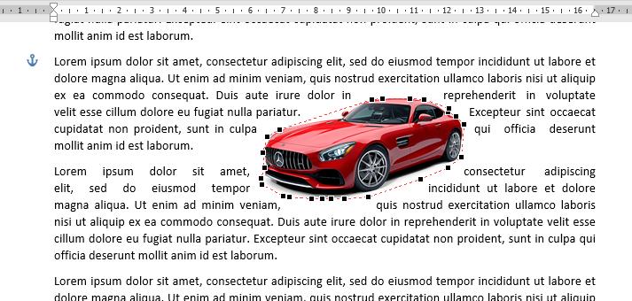 Gambar dengan posisi edit wrap points