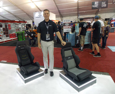Martin Klein, CEO of RECARO Automotive Seating with RECARO seats at SEMA 2018
