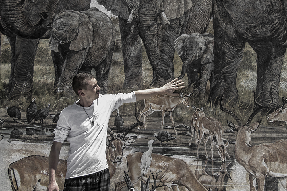 Big Five Wandmalerei in Kapstadt, Südafrika, WELTREISE