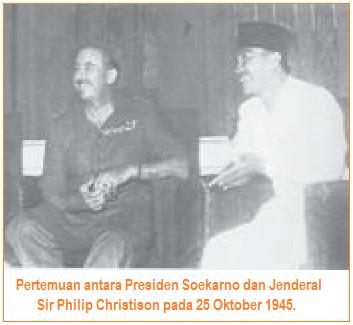 Pertemuan antara Presiden Soekarno dan Jenderal Sir Philip Christison pada 25 Oktober 1945