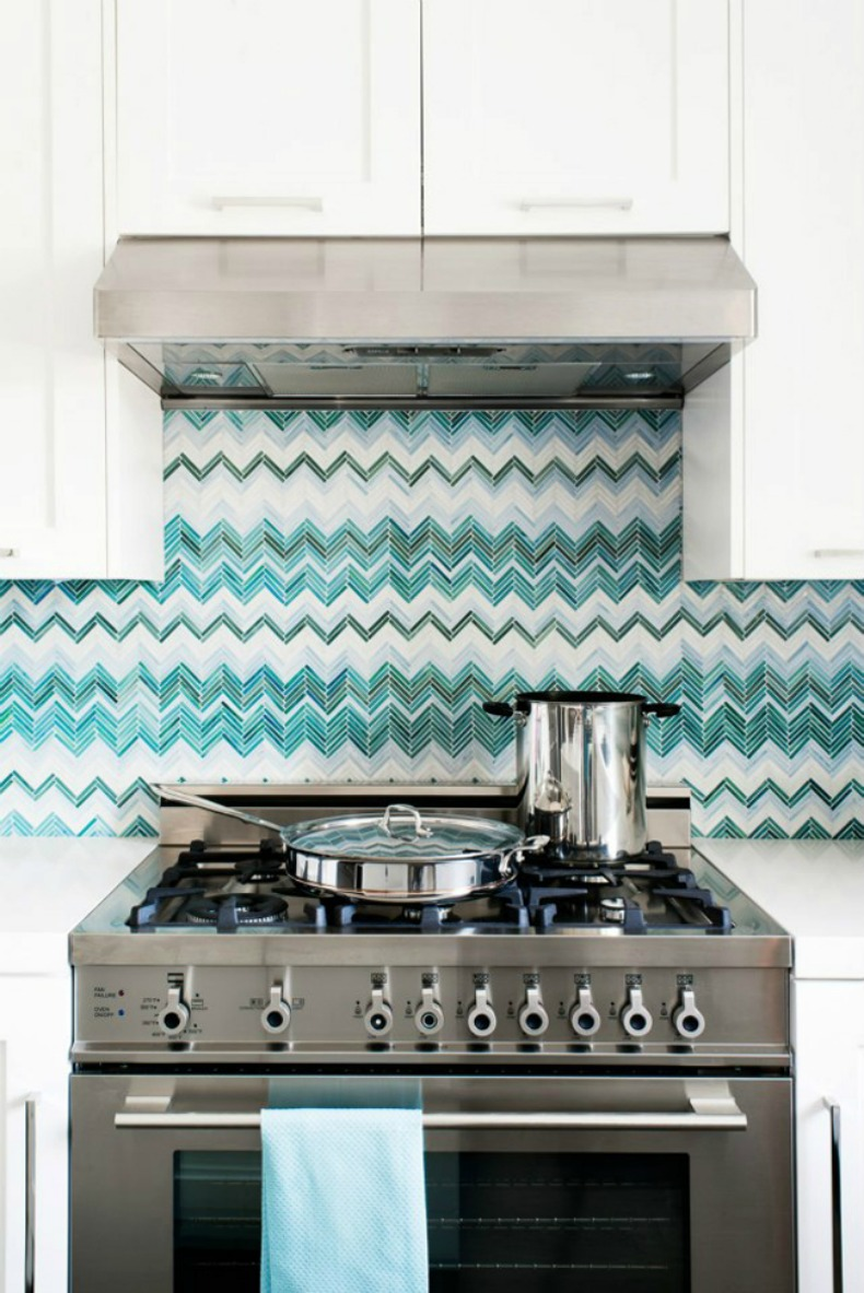 Coastal, graphic and modern aqua chevron tile back splash