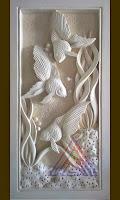 relief batu alam paras jogja/ paras putih motif ikan hias