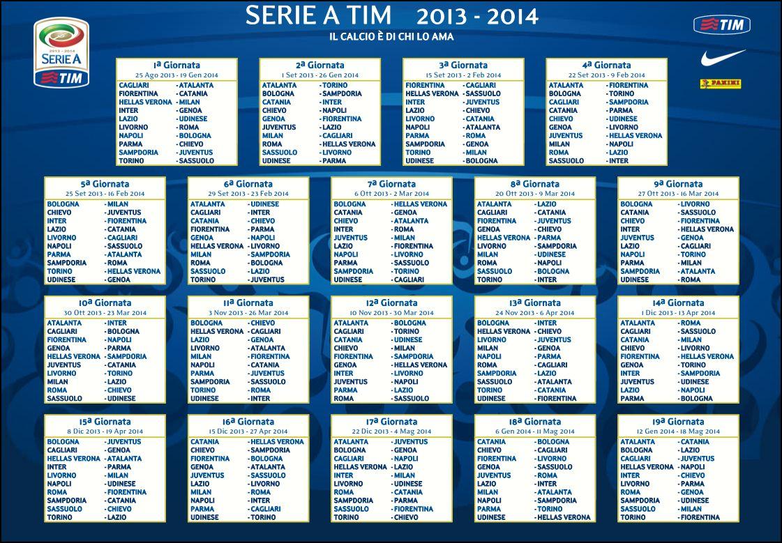 Calendario Serie A 38 Giornata.Calendario Serie A 2013 2014 Scombettiamo