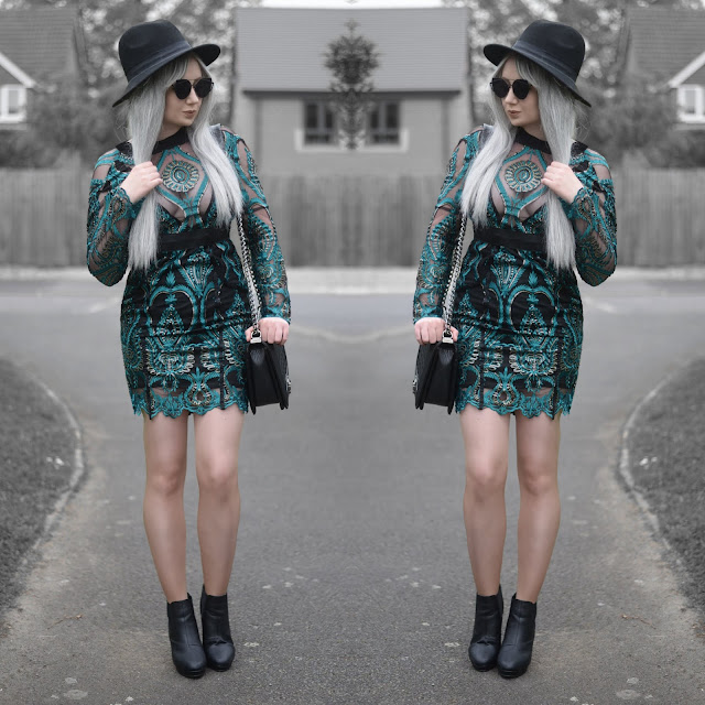 Sammi Jackson - Primark Black Fedora / Zaful Sunglasses / IVRose Teal Sequin Dress / OASAP Quilted Flap Bag / Office Chunky Ankle Boots