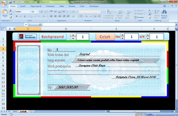 Aplikasi Kwitansi Otomatis dengan Microsoft Excel