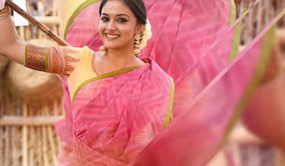 Keerthy Suresh in Pink Saree with Cute Smile in Pandem Kodi 2