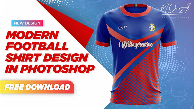Modern Football Shirt Design in Photoshop + Free Yellow Images Mockup Download by M Qasim Ali