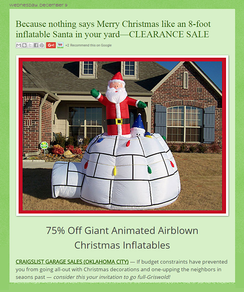 Top 5 OKC Craigslist Garage Sale Posts No. 3 - Dec 2015