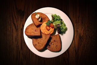 Czech rye bread with pickled cheese