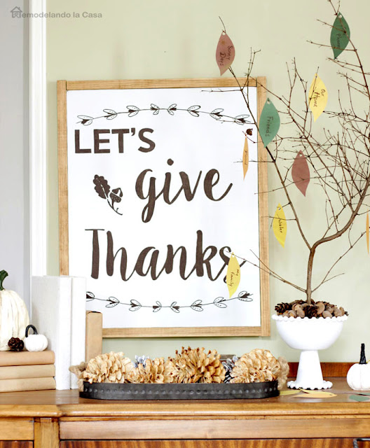 Thanksgiving decor with free sign printables