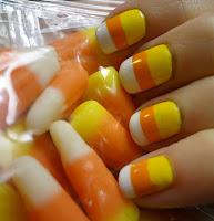 Halloween Candy Corn Nail Design