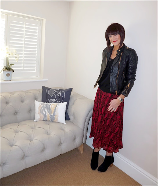 My Midlife Fashion, Zara leather biker jacket, H&M cashmere v neck jumper, new look snake print midi pleated skirt, mango block heel ankle boots