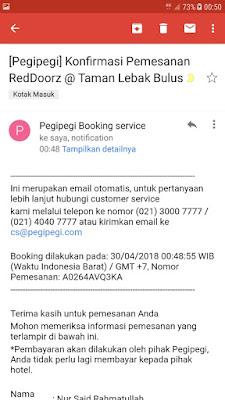 konfirmasi pembayaran booking hotel di pegipegi