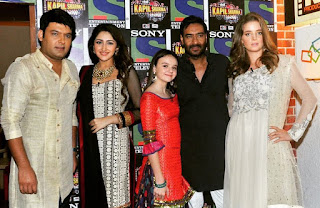 Abigail Eames With Erika Kaar, Ajay Devgan, Sayesha Saigal and Kapil Sharma