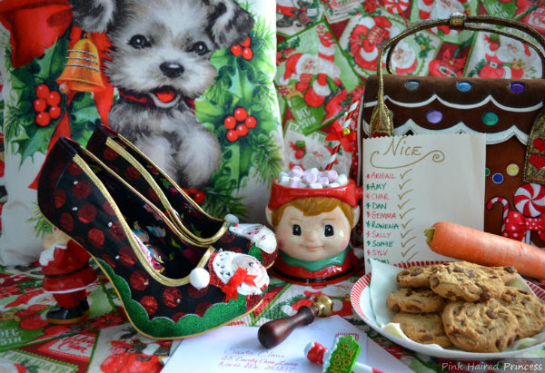 Irregular Choice festive Santa shoes in Christmas scene with cookies, carrot, hot chocolate