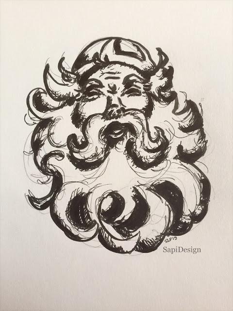 Kalevala Väinämöinen Finland Finnish culture mythology drawing SapiDesign