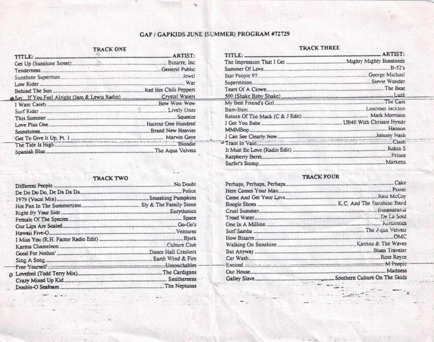 GapKids In-Store Playlists | Gap In-Store Playlists 1992 to 2006