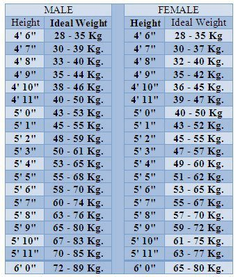 ideal height weight charts - Erkaljonathandedecker