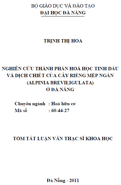 Nghiên cứu thành phần hóa học tinh dầu và dịch chiết của cây riềng mép ngắn (Alpinia breviligulata) ở Đà Nẵng