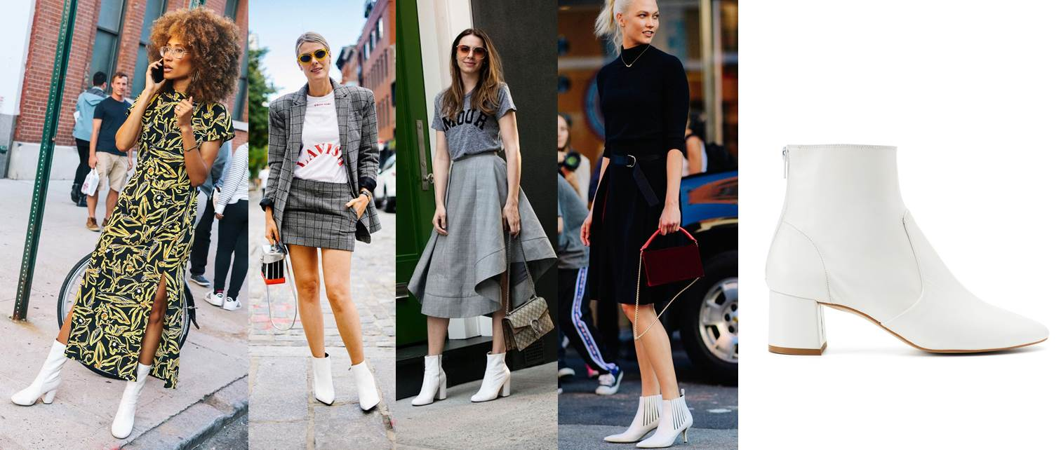 new york fashion week ss18 street style, white boots trend