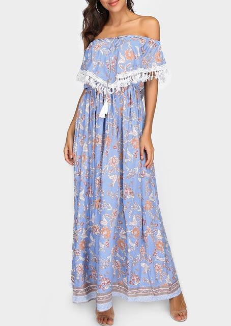 Floral Tassel Splicing Layered Off Shoulder Maxi Dress