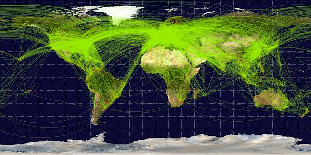 Mapa com todas as rotas mundiais aéreas