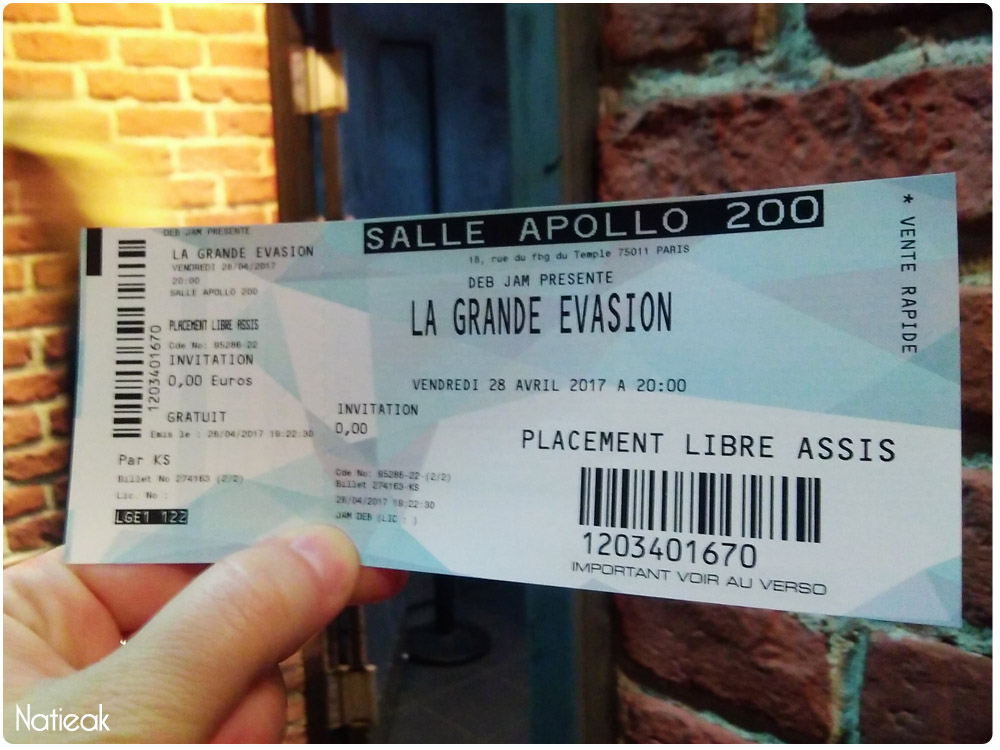 l'Apollon théâtre :ticket la grande évasion