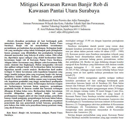 Mitigasi Kawasan Rawan Banjir Rob di Kawasan Pantai Utara Surabaya[Paper]