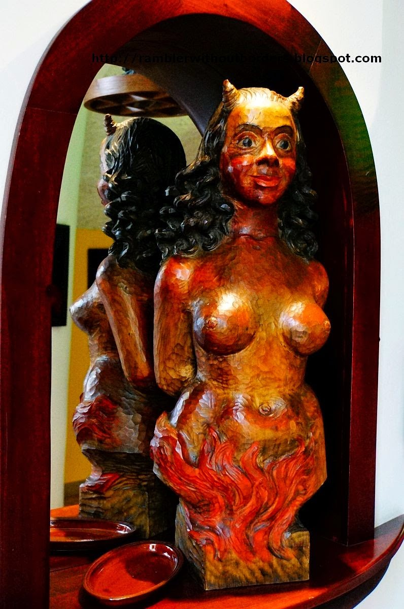Statue of a She-Devil at Certovka Restaurant, Prague