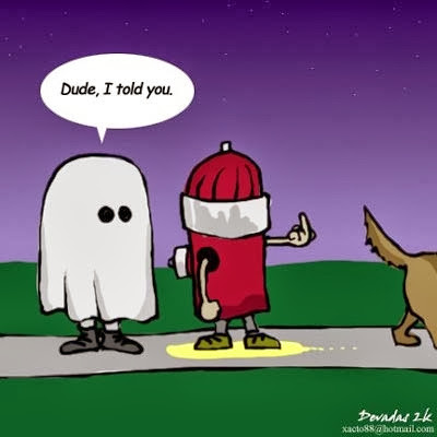 Funny Halloween Cartoon Picture - Dude I told you - ghost speaking to fire hydrant that has just been peed on by a dog