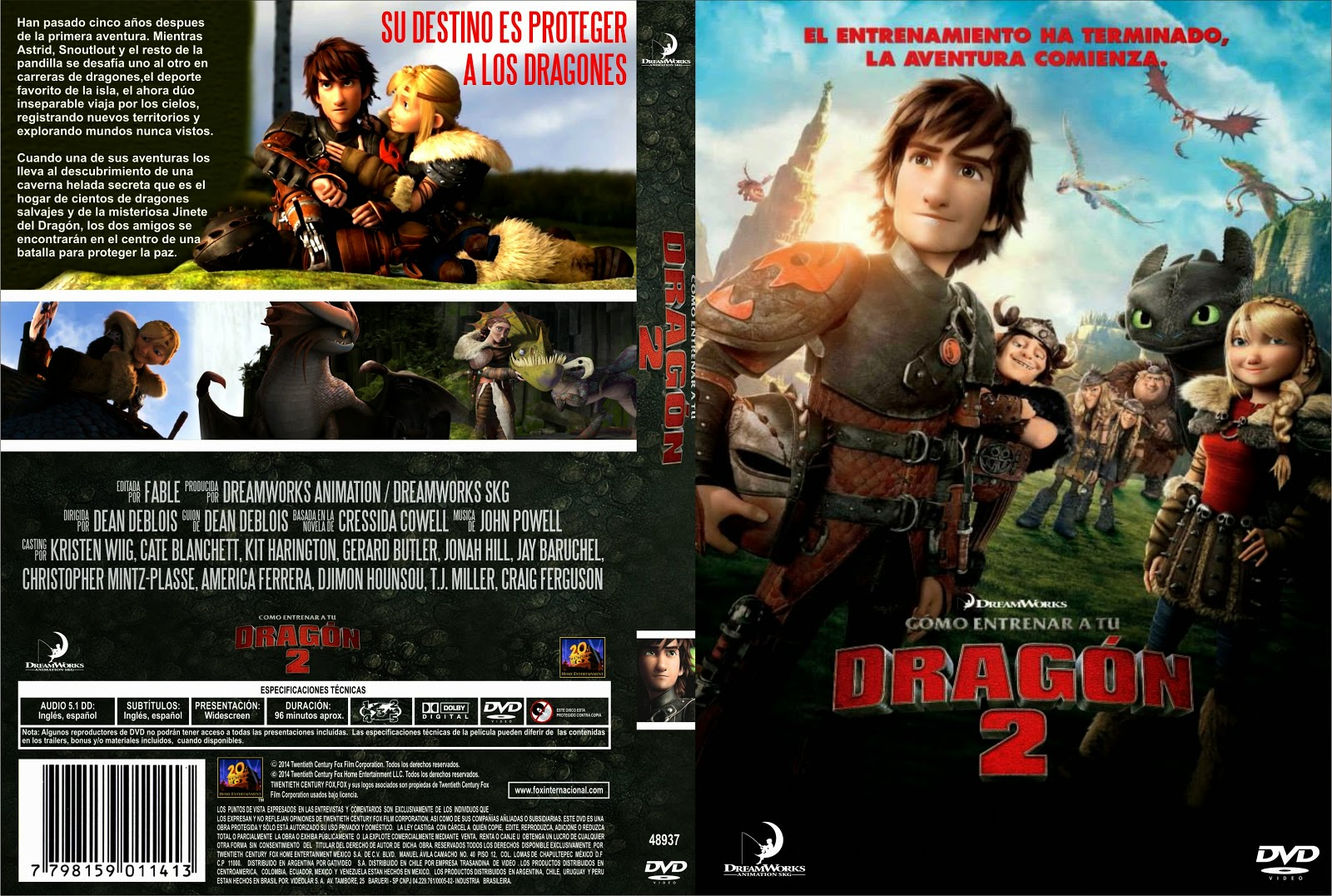 PB   DVD Cover / Caratula FREE: HOW TO TRAIN YOUR DRAGON 2 ...