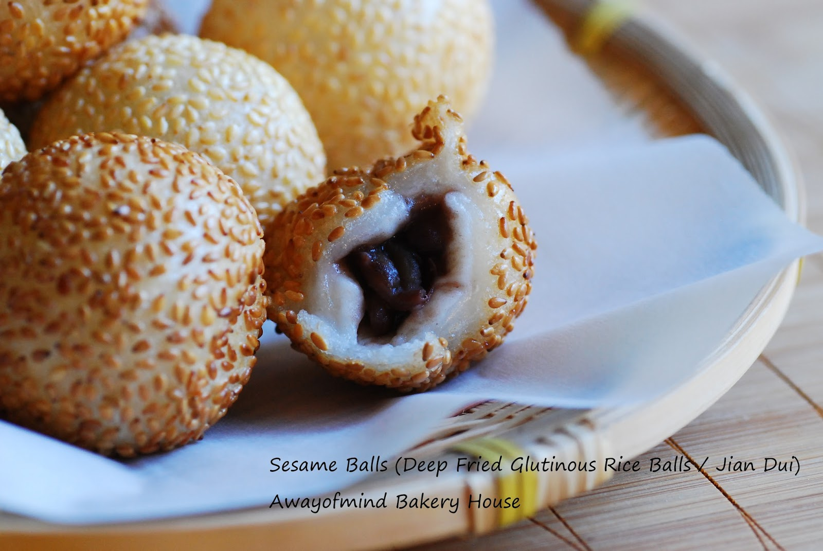 Awayofmind bakery house sesame balls deep fried glutinous rice 15 cups glutinous rice flour 80g sugar 100ml water 10ml more for adjusting include water for starter dough 12 tsp baking powder ccuart Choice Image